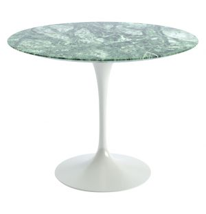Tulip Dining Table Verdi Alpi Satin Finish Marble & White Base 91cm