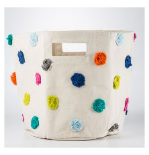 Multicoloured Pom Pom Basket Medium