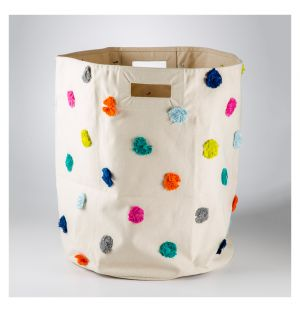 Multicoloured Pom Pom Basket Large