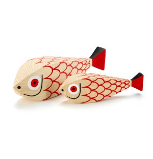 Wooden Mother Fish & Child Dolls