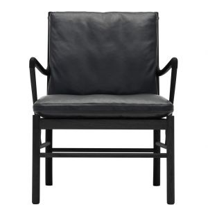 OW149 Colonial Armchair Black Stained Oak & Black Leather