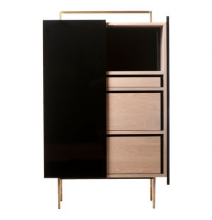 759L Trunk Cabinet Tall Black Lacquer & Oak Interior