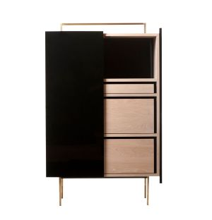759L Tall Trunk Cabinet in Black Lacquer & White Oiled Oak