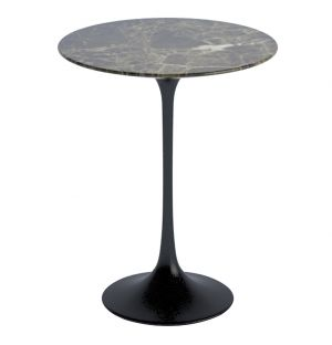 Tulip Side Table Brown Emperador Satin Finish Marble 41cm