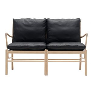 OW149-2 Colonial Sofa Oak & Leather
