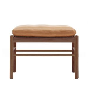 OW149-F Colonial Stool Walnut & Leather