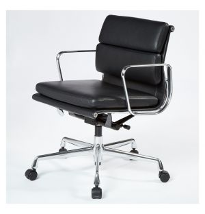 EA217 Soft Pad Office Chair in Nero Leather & Chrome Base