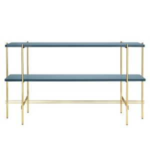 TS Console Double Rack Brass Base Glass Top