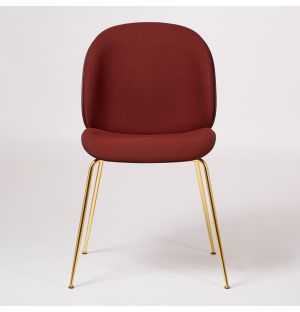 Beetle Dining Chair Front Upholstered Dark Pink & Brass