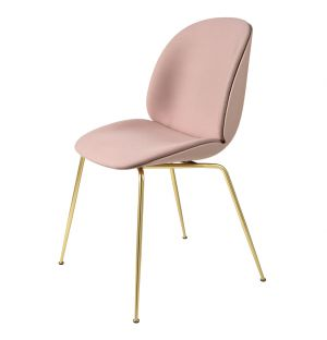 Beetle Dining Chair Front Upholstered Brass Legs