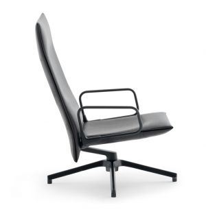 Pilot Chair Soft High Back Upholstered Arms Charcoal & Leather