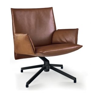 Pilot Chair Soft Low Back Upholstered Arms Charcoal & Venezia Leather