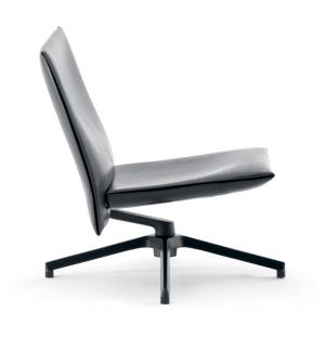 Pilot Chair Soft Low Back Charcoal & Leather