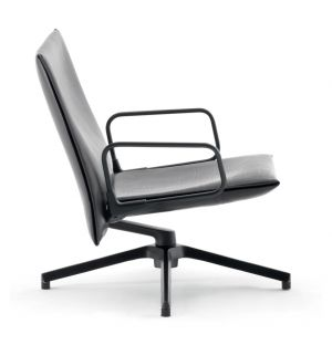 Pilot Chair Soft Low Back Upholstered Arms Charcoal & Leather