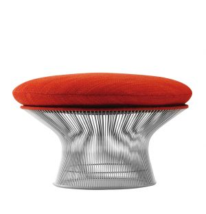 Platner Ottoman Polished Nickel & Rivington Fabric