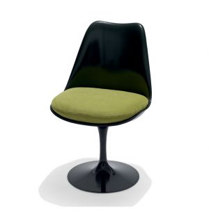 Tulip Side Chair Black Swivel Base & Ultrasuede Fabric