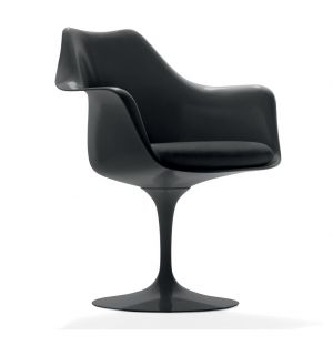 Tulip Armchair Black Swivel Base & Ultrasuede Fabric