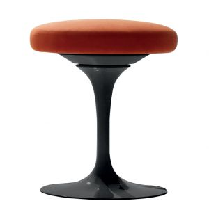 Tulip Swivel Stool Black & Ultrasuede Fabri