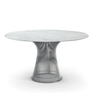Platner High Table Polished Nickel & Arabescato Marble