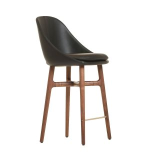 750T Solo Bar Stool in Danish Oiled Walnut & Leather