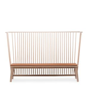 446 Settle Bench in Danish Oiled Oak with Leather Seat Pad