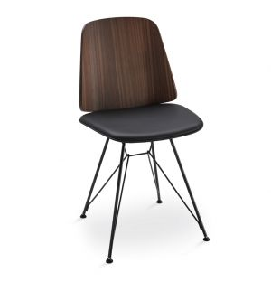 June 2056 Dining Chair Walnut & Pelle Nappa Leather