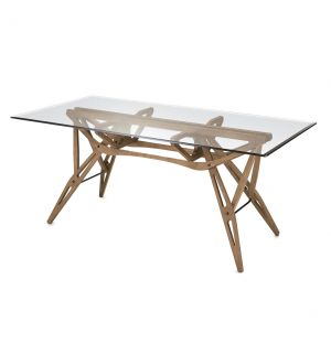Reale Dining Table Canaletto Walnut Dyed Oak & Glass Top
