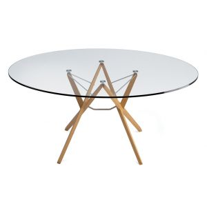 Orione Table Oak & Glass