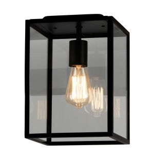 Homefield 7956 Exterior Ceiling Light Black & Clear Glass
