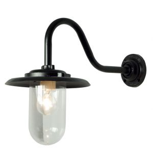 Exterior Bracket Wall Light Swan Neck Black & Clear Glass 100W