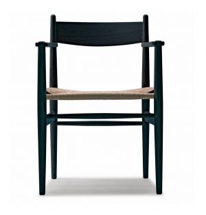 CH37 Armchair Black Oak Frame & Natural Papercord Seat