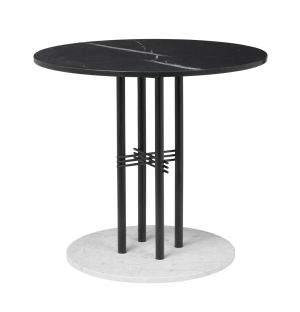 TS Column Table Marble Top & White Cararra Marble Base Small