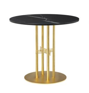 TS Column Table Marble Top & Brass Base Small