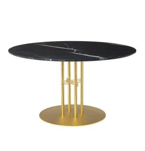 TS Column Table Marble Top & Brass Base Large
