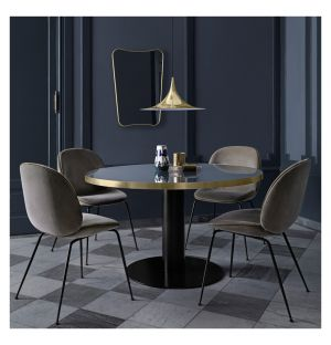 Gubi 2.0 Dining Table Black & Glass Small