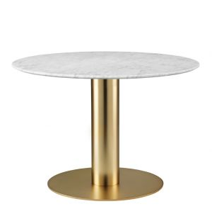 Gubi 2.0 Dining Table Brass & Marble Small