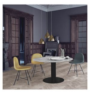 Gubi 2.0 Dining Table Black & Marble Small