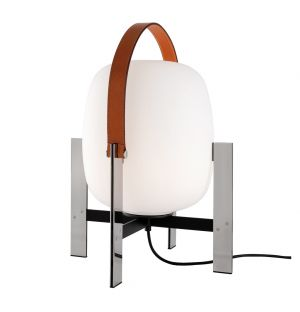 Cesta Table Lamp in Metálica & Leather