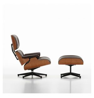 Tall Eames Lounge Chair & Ottoman Chocolate Leather & Cherry