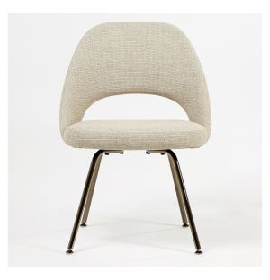 Saarinen Conference Chair Black Chrome & Grey West Fabric