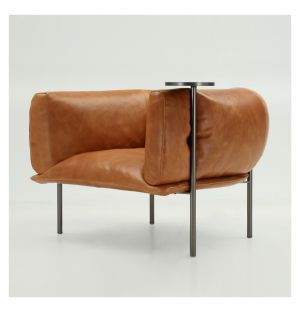 Rondo Small Armchair With Table Tan Leather