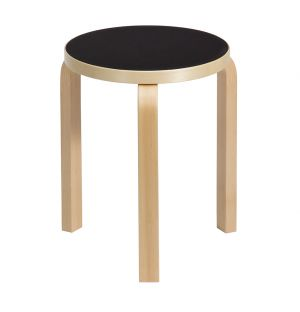 Stool 60 Natural Lacquered Birch Black Linoleum Top