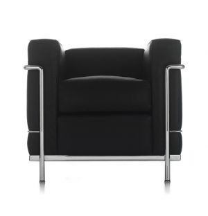 LC2 Armchair Graphite Leather & Chrome