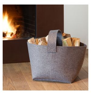 Firewood Basket Medium Light Grey