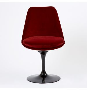 Tulip Side Chair Black Swivel Base & Rust Velvet