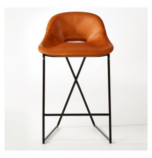 Cross Leg Counter Stool Legacy Tan Leather & Black