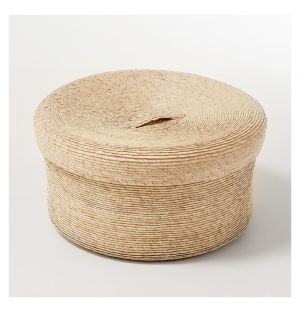 Round Storage Basket & Lid Natural Small