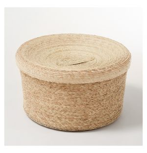 Round Storage Basket & Lid Natural Large