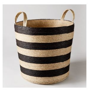 Tall Cylinder Storage Basket Black & Natural