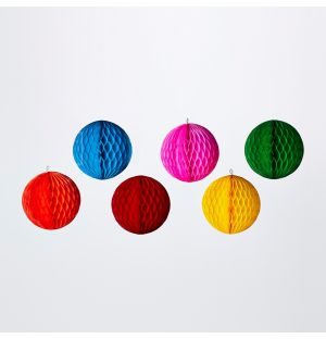 Paper Ball Christmas Decorations Set of 6